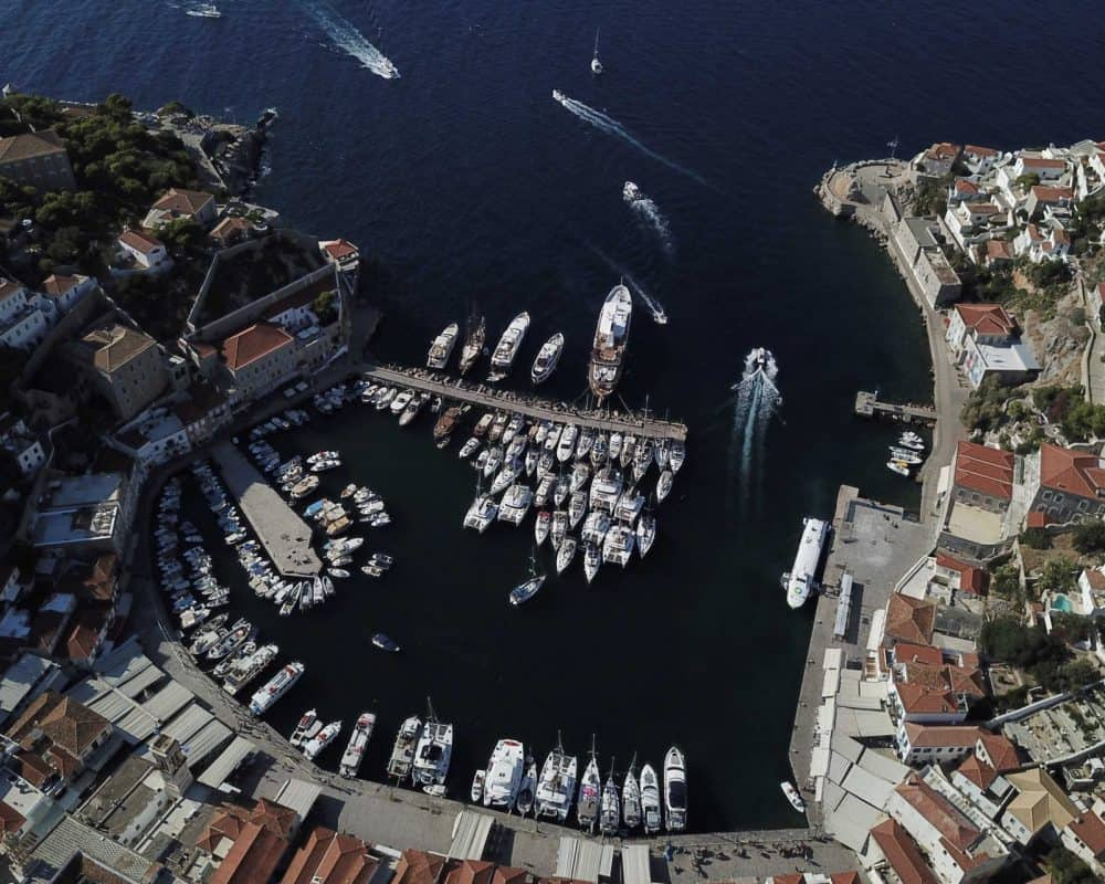 Hydra marina aerial - Saronic Islands by Sail United